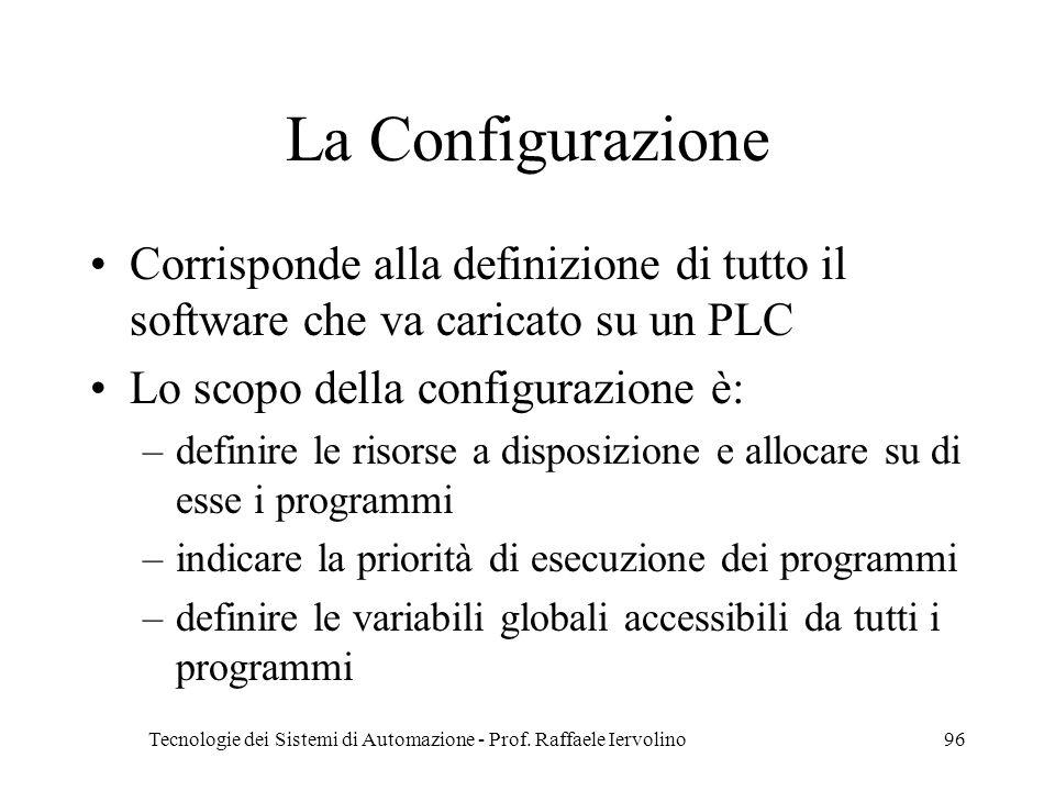 Tecnologie dei Sistemi di Automazione - Prof. Raffaele Iervolino96 La Configurazione Corrisponde alla definizione di tutto il software che va caricato