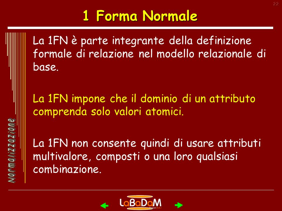 22 1 Forma Normale La 1FN è parte integrante della definizione formale di relazione nel modello relazionale di base.