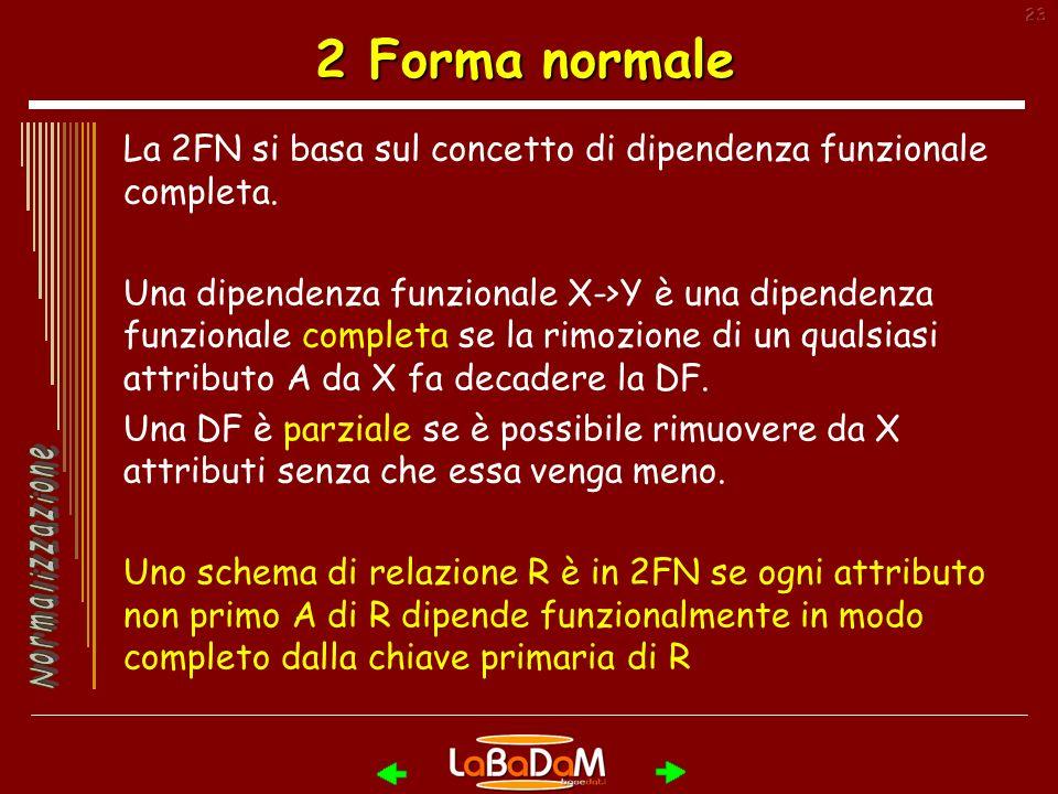 23 2 Forma normale La 2FN si basa sul concetto di dipendenza funzionale completa.