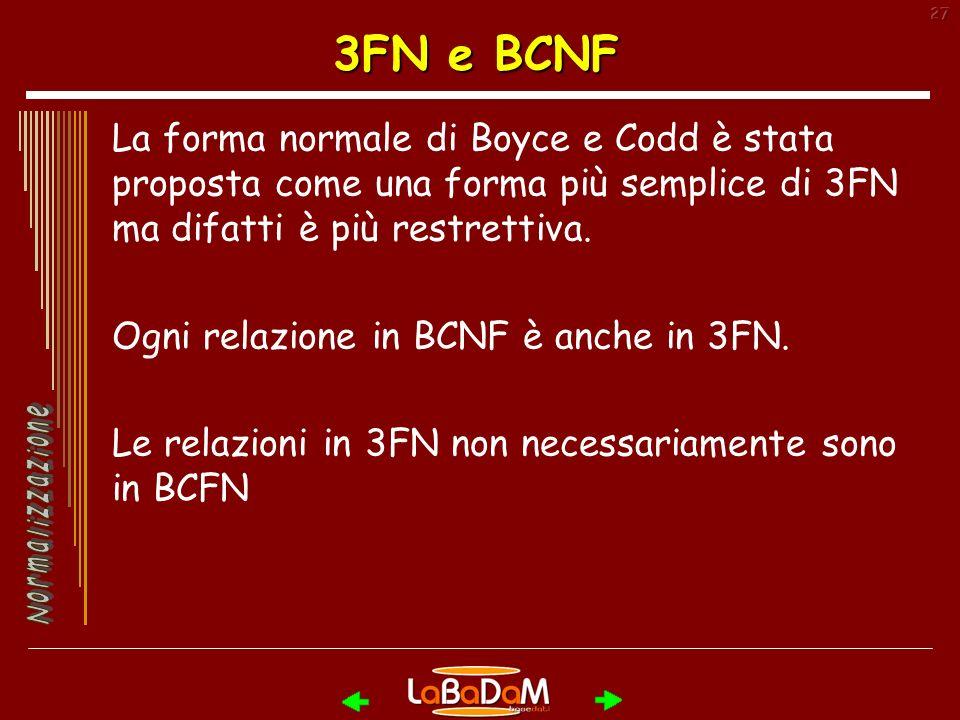 27 3FN e BCNF La forma normale di Boyce e Codd è stata proposta come una forma più semplice di 3FN ma difatti è più restrettiva.