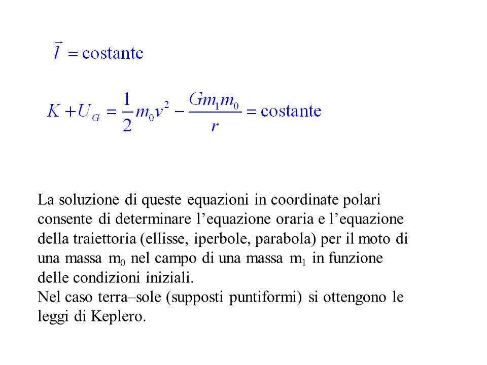 La soluzione di queste equazioni in coordinate polari consente di determinare lequazione oraria e lequazione della traiettoria (ellisse, iperbole, par