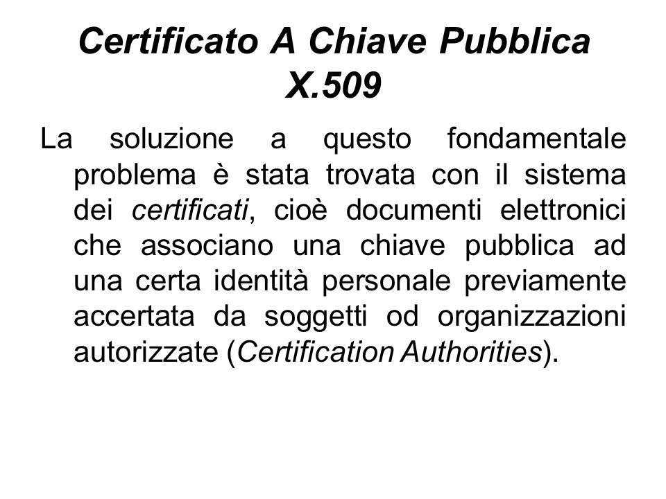 Certificato A Chiave Pubblica X.509 La soluzione a questo fondamentale problema è stata trovata con il sistema dei certificati, cioè documenti elettronici che associano una chiave pubblica ad una certa identità personale previamente accertata da soggetti od organizzazioni autorizzate (Certification Authorities).