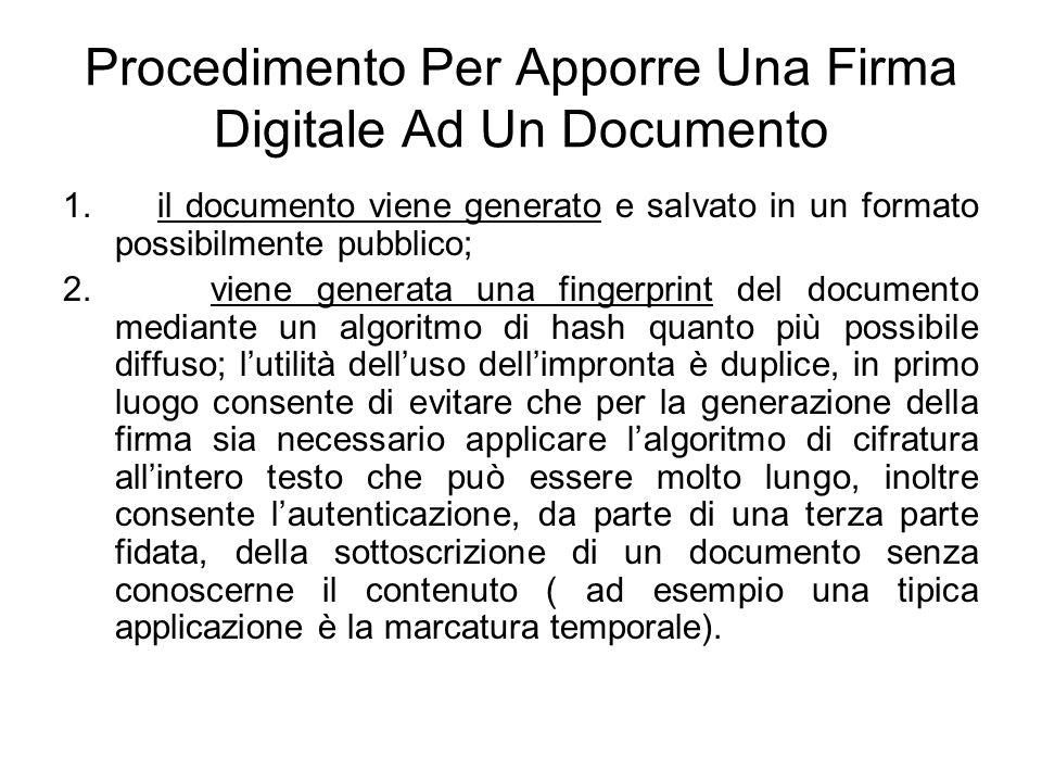 Procedimento Per Apporre Una Firma Digitale Ad Un Documento 1. il documento viene generato e salvato in un formato possibilmente pubblico; 2. viene ge