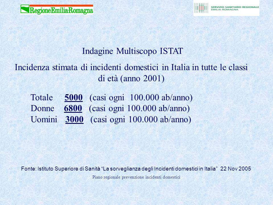Piano regionale prevenzione incidenti domestici Fonte: Istituto Superiore di Sanità La sorveglianza degli Incidenti domestici in Italia 22 Nov 2005 Indagine Multiscopo ISTAT Incidenza stimata di incidenti domestici in Italia in tutte le classi di età (anno 2001) Totale 5000 (casi ogni 100.000 ab/anno) Donne 6800 (casi ogni 100.000 ab/anno) Uomini 3000 (casi ogni 100.000 ab/anno)