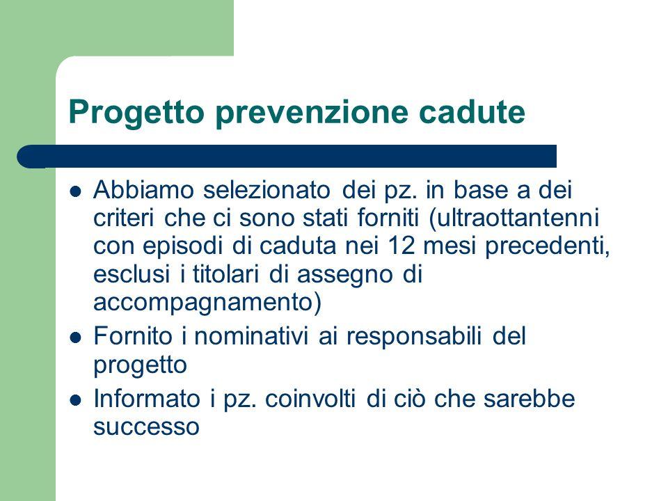 Progetto prevenzione cadute Abbiamo selezionato dei pz.