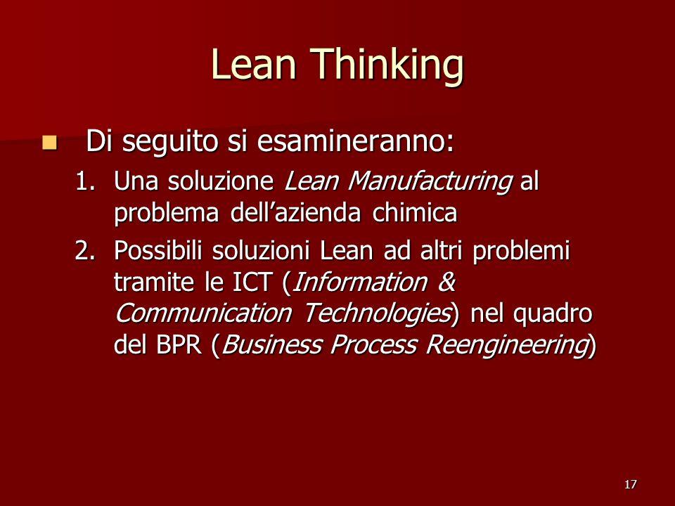 17 Lean Thinking Di seguito si esamineranno: Di seguito si esamineranno: 1.Una soluzione Lean Manufacturing al problema dellazienda chimica 2.Possibil