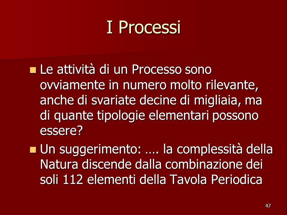 47 I Processi Le attività di un Processo sono ovviamente in numero molto rilevante, anche di svariate decine di migliaia, ma di quante tipologie eleme