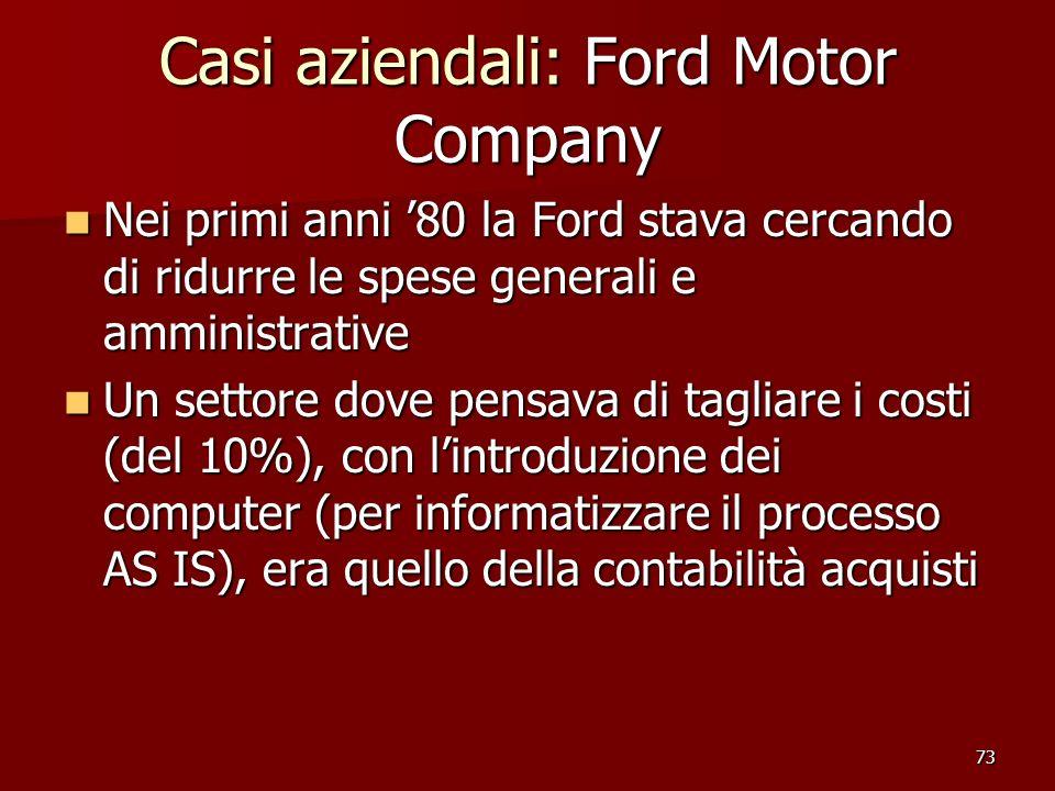 73 Casi aziendali: Ford Motor Company Nei primi anni 80 la Ford stava cercando di ridurre le spese generali e amministrative Nei primi anni 80 la Ford