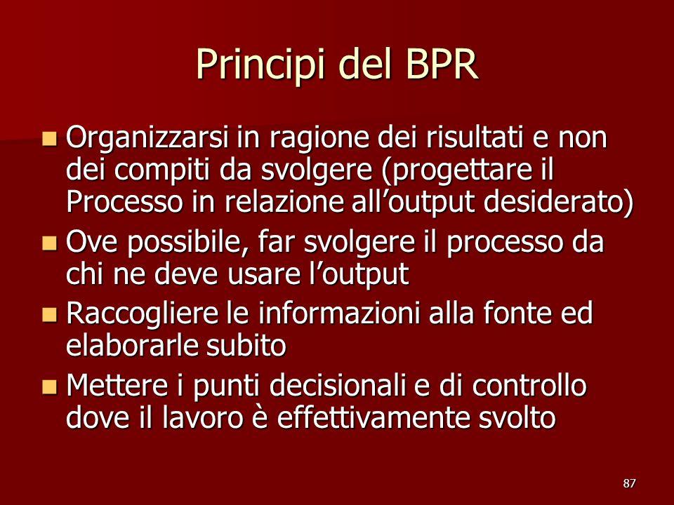 87 Principi del BPR Organizzarsi in ragione dei risultati e non dei compiti da svolgere (progettare il Processo in relazione alloutput desiderato) Org
