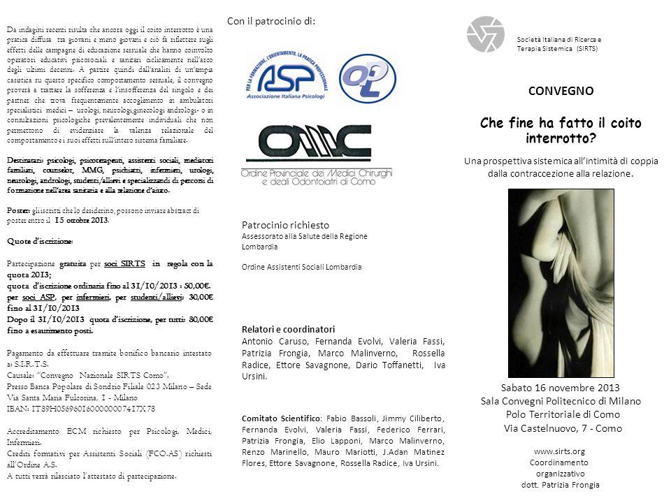 Mattino 8,30 Accoglimento dei partecipanti 9,00 Saluti delle autorità: Presidente SIRTS – Presidente Ordine Provinciale dei Medici di Como 9,15 Chairman Valeria Fassi.