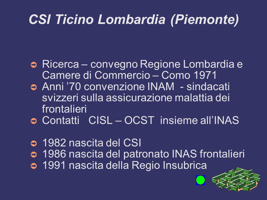 CSI Ticino Lombardia (Piemonte) Ricerca – convegno Regione Lombardia e Camere di Commercio – Como 1971 Anni 70 convenzione INAM - sindacati svizzeri s
