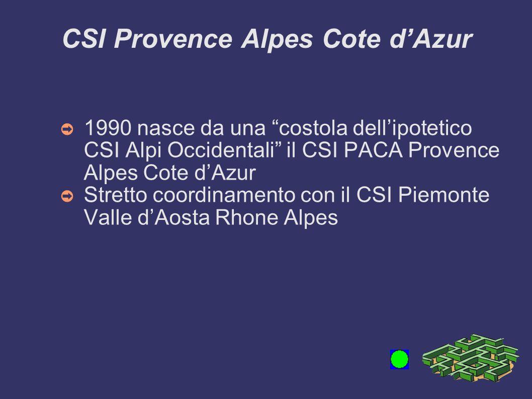 CSI Provence Alpes Cote dAzur 1990 nasce da una costola dellipotetico CSI Alpi Occidentali il CSI PACA Provence Alpes Cote dAzur Stretto coordinamento con il CSI Piemonte Valle dAosta Rhone Alpes