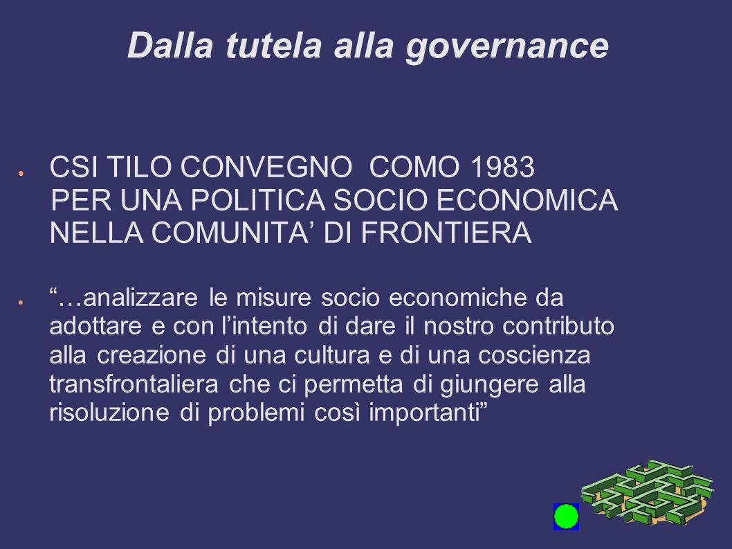 Dalla tutela alla governance CSI TILO CONVEGNO COMO 1983 PER UNA POLITICA SOCIO ECONOMICA NELLA COMUNITA DI FRONTIERA …analizzare le misure socio econ