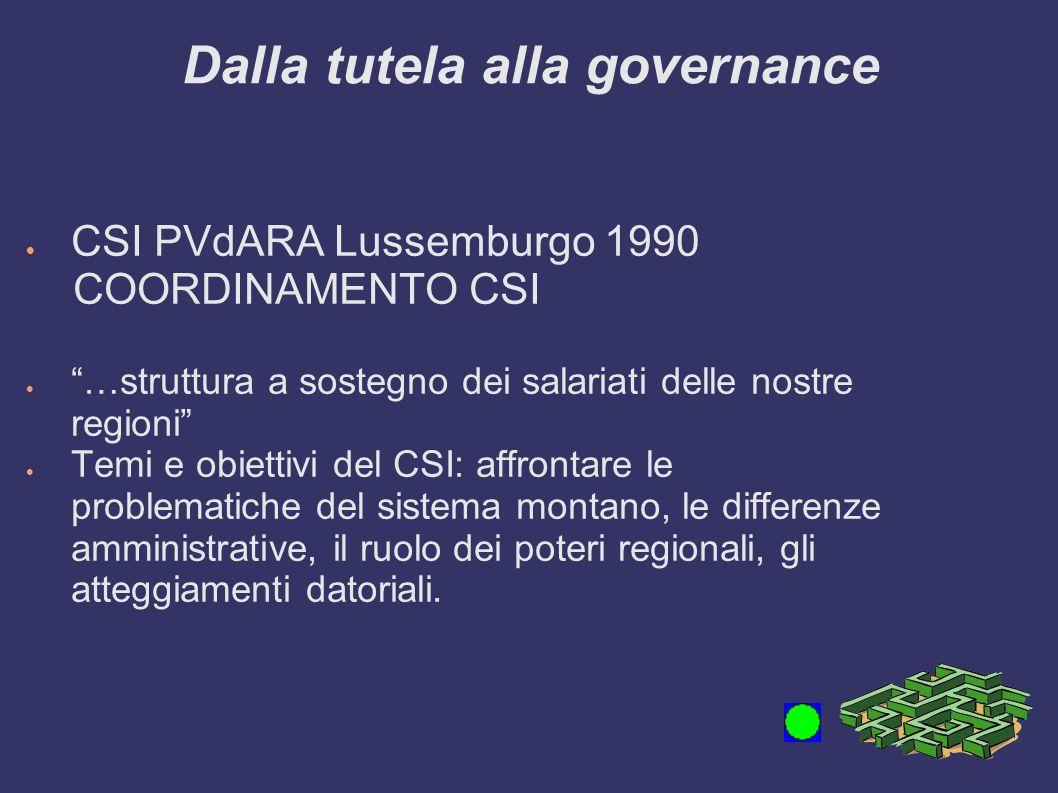 Dalla tutela alla governance CSI PVdARA Lussemburgo 1990 COORDINAMENTO CSI …struttura a sostegno dei salariati delle nostre regioni Temi e obiettivi del CSI: affrontare le problematiche del sistema montano, le differenze amministrative, il ruolo dei poteri regionali, gli atteggiamenti datoriali.
