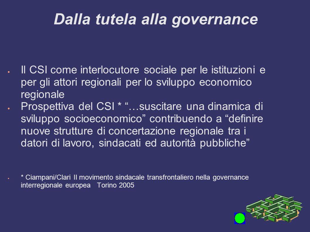 Dalla tutela alla governance Il CSI come interlocutore sociale per le istituzioni e per gli attori regionali per lo sviluppo economico regionale Prosp