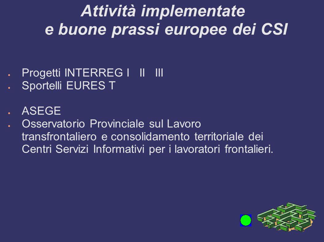 Attività implementate e buone prassi europee dei CSI Progetti INTERREG I II III Sportelli EURES T ASEGE Osservatorio Provinciale sul Lavoro transfrontaliero e consolidamento territoriale dei Centri Servizi Informativi per i lavoratori frontalieri.