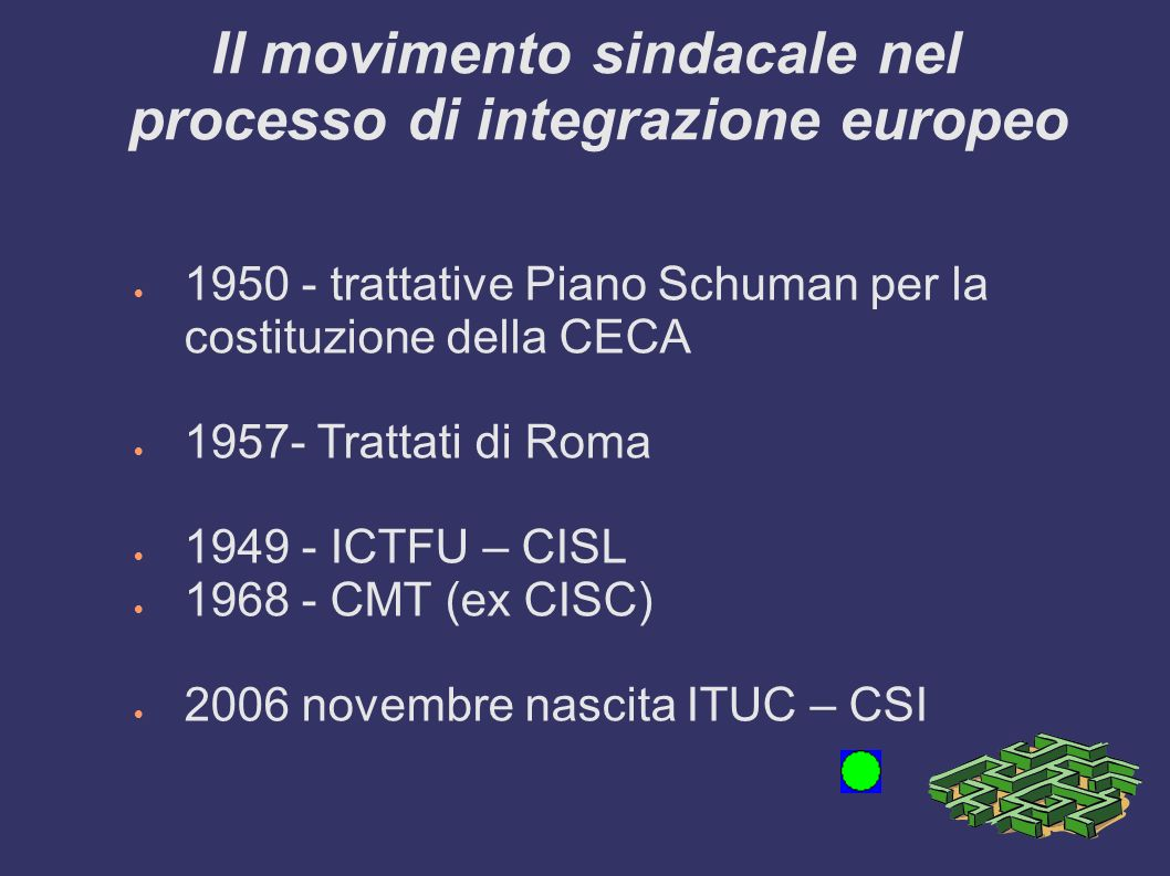 Il movimento sindacale nel processo di integrazione europeo 1950 - trattative Piano Schuman per la costituzione della CECA 1957- Trattati di Roma 1949