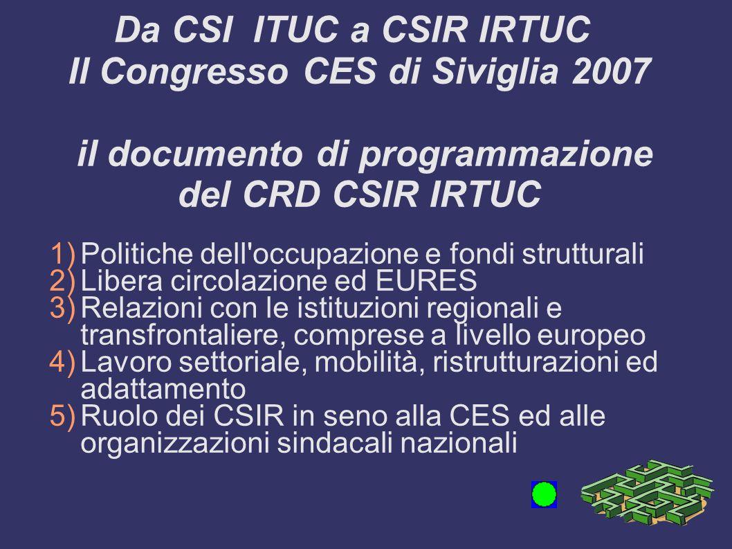 Da CSI ITUC a CSIR IRTUC Il Congresso CES di Siviglia 2007 il documento di programmazione del CRD CSIR IRTUC 1)Politiche dell'occupazione e fondi stru