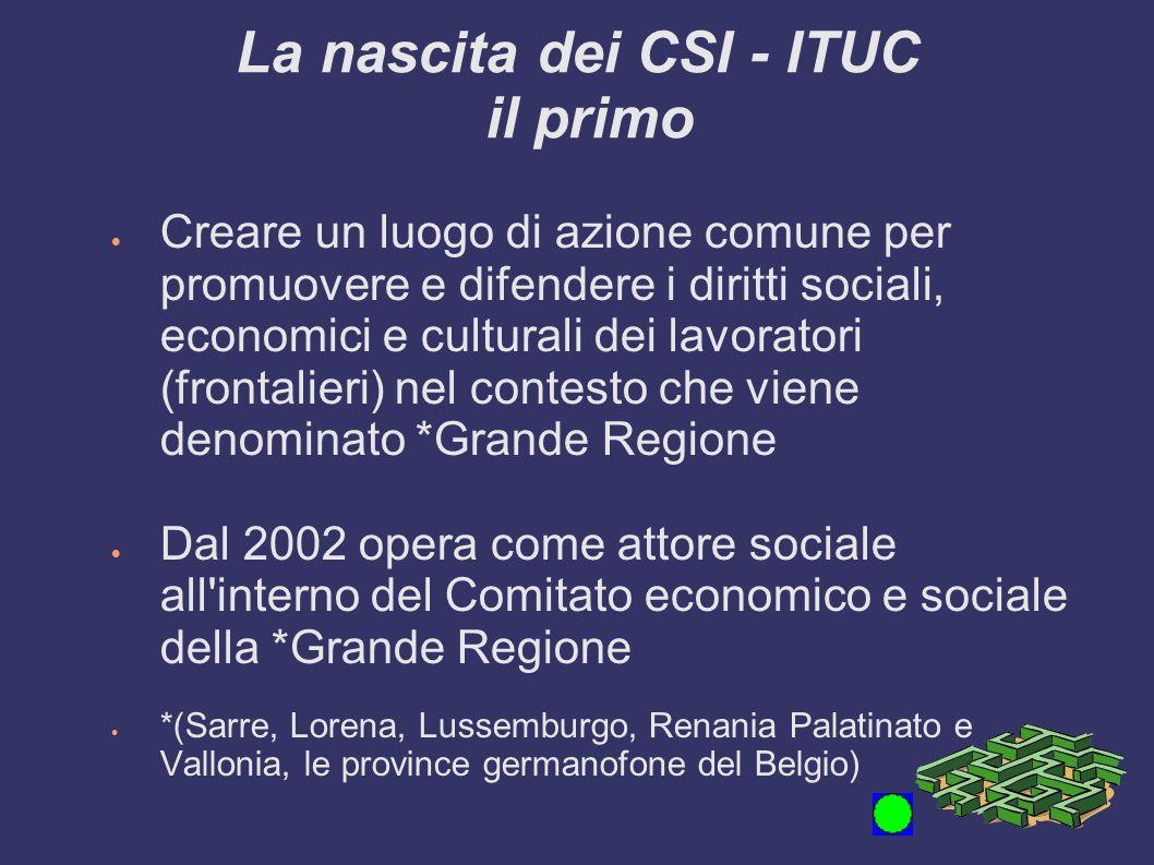 La nascita dei CSI - ITUC il primo Creare un luogo di azione comune per promuovere e difendere i diritti sociali, economici e culturali dei lavoratori
