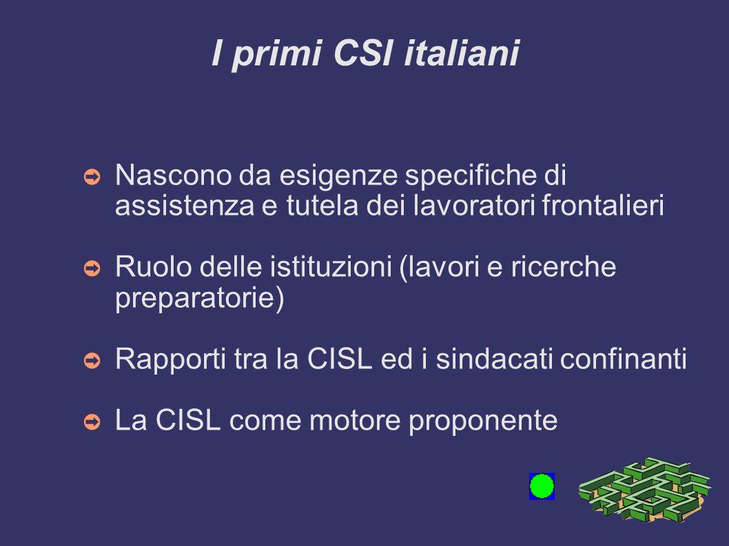 I primi CSI italiani Nascono da esigenze specifiche di assistenza e tutela dei lavoratori frontalieri Ruolo delle istituzioni (lavori e ricerche preparatorie) Rapporti tra la CISL ed i sindacati confinanti La CISL come motore proponente