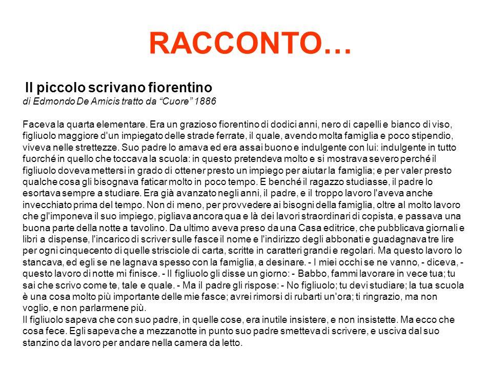 RACCONTO… Il piccolo scrivano fiorentino di Edmondo De Amicis tratto da Cuore 1886 Faceva la quarta elementare. Era un grazioso fiorentino di dodici a