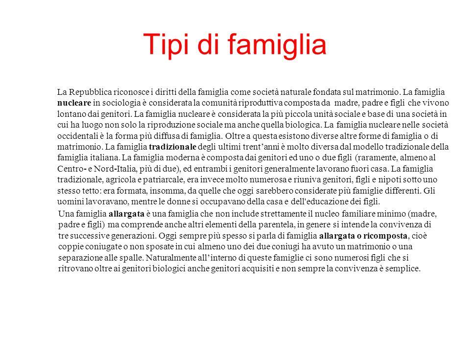 La famiglia italiana oggi è sicuramente una microfamiglia; solo il 10% delle famiglie anagrafiche e il 12% delle famiglie di fatto sono composte da 5 o più membri.