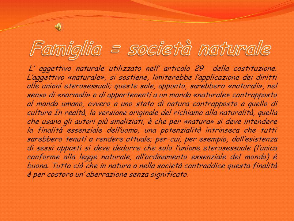 Famiglia = società naturale Famiglia nucleare Famiglia tradizionale Famiglia allargata