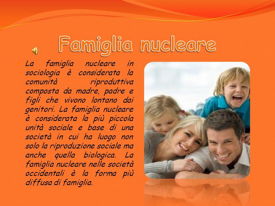 La famiglia nucleare in sociologia è considerata la comunità riproduttiva composta da madre, padre e figli che vivono lontano dai genitori.