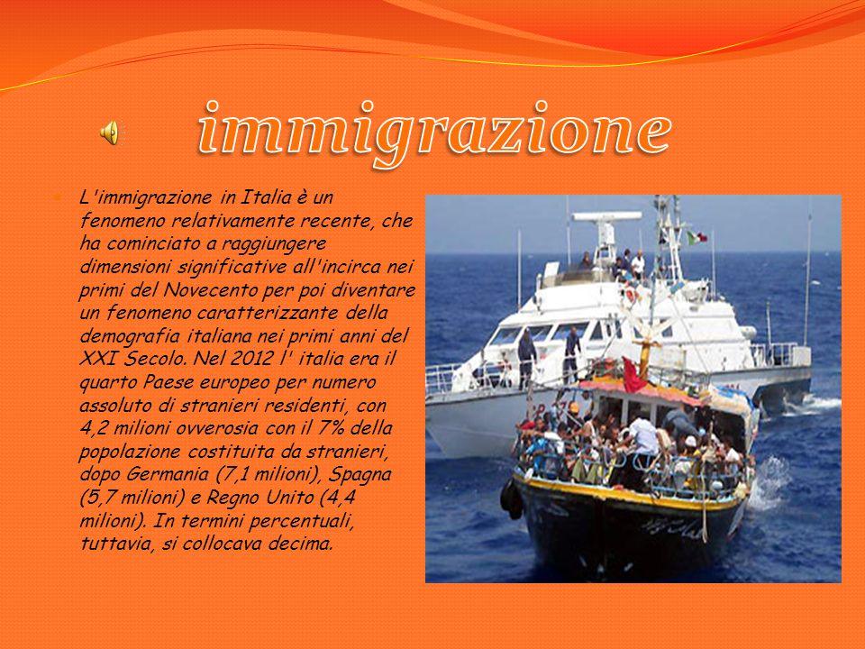 L immigrazione in Italia è un fenomeno relativamente recente, che ha cominciato a raggiungere dimensioni significative all incirca nei primi del Novecento per poi diventare un fenomeno caratterizzante della demografia italiana nei primi anni del XXI Secolo.