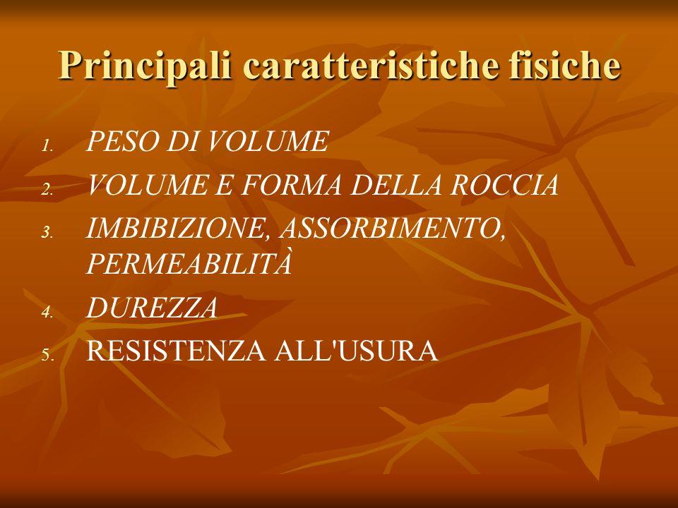 Principali caratteristiche fisiche 1.1. PESO DI VOLUME 2.