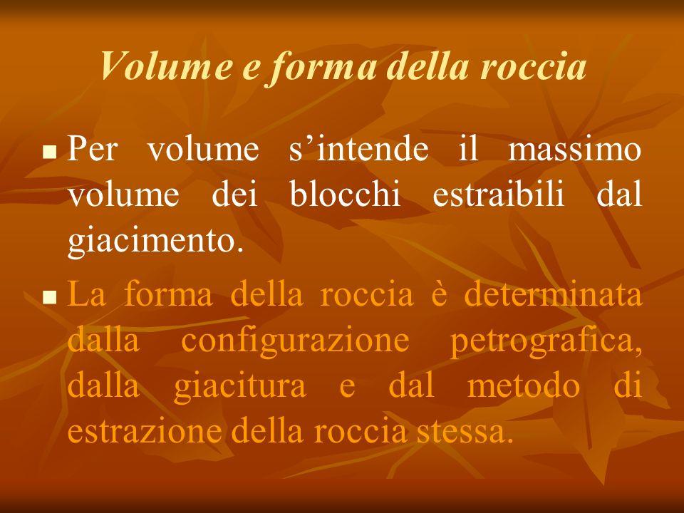 Volume e forma della roccia Per volume sintende il massimo volume dei blocchi estraibili dal giacimento.