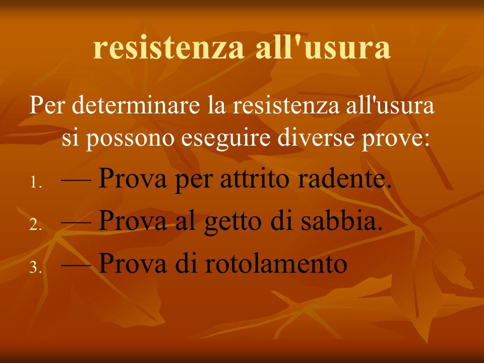 resistenza all usura Per determinare la resistenza all usura si possono eseguire diverse prove: 1.