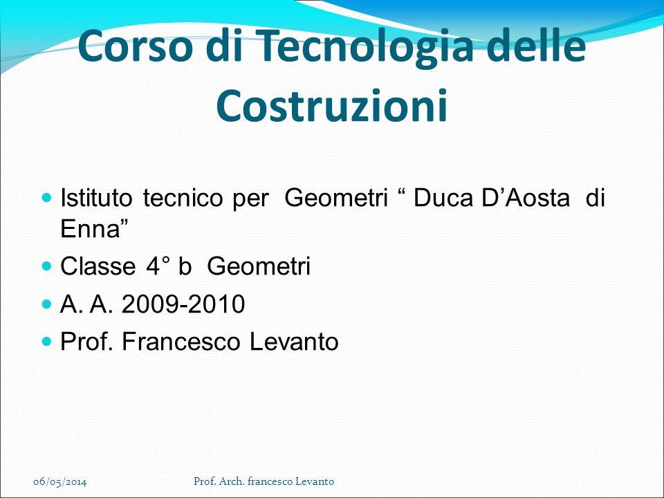 Corso di Tecnologia delle Costruzioni Istituto tecnico per Geometri Duca DAosta di Enna Classe 4° b Geometri A.