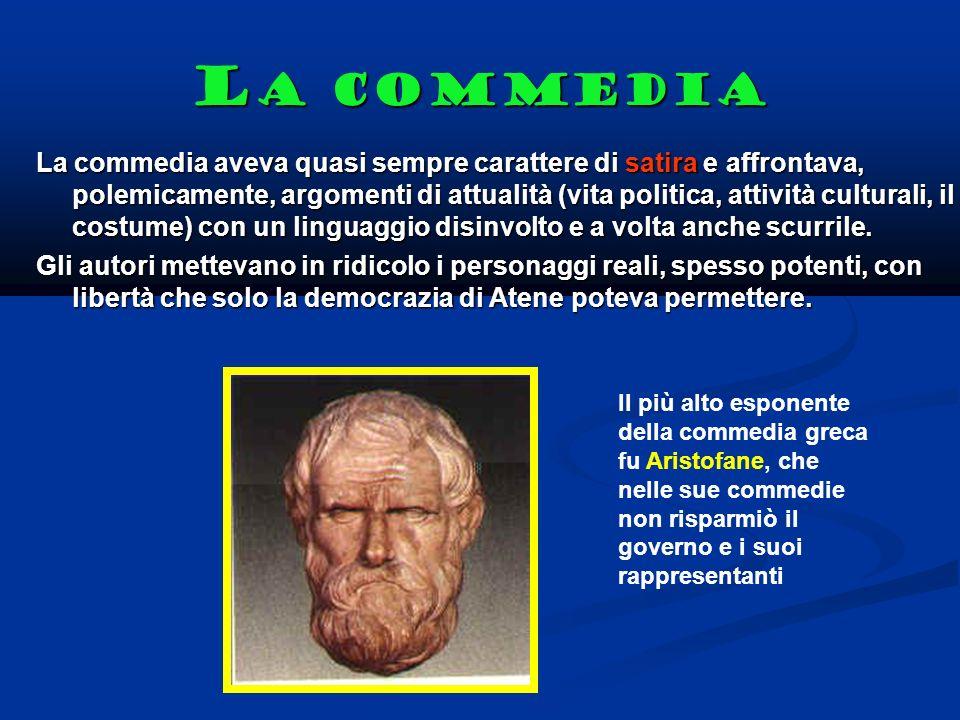 L a commedia La commedia aveva quasi sempre carattere di satira e affrontava, polemicamente, argomenti di attualità (vita politica, attività culturali, il costume) con un linguaggio disinvolto e a volta anche scurrile.
