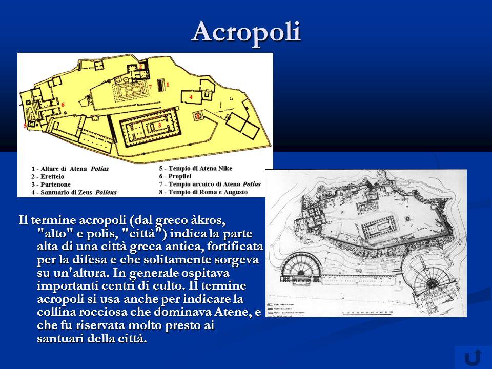 Acropoli Il termine acropoli (dal greco àkros, alto e polis, città ) indica la parte alta di una città greca antica, fortificata per la difesa e che solitamente sorgeva su un altura.