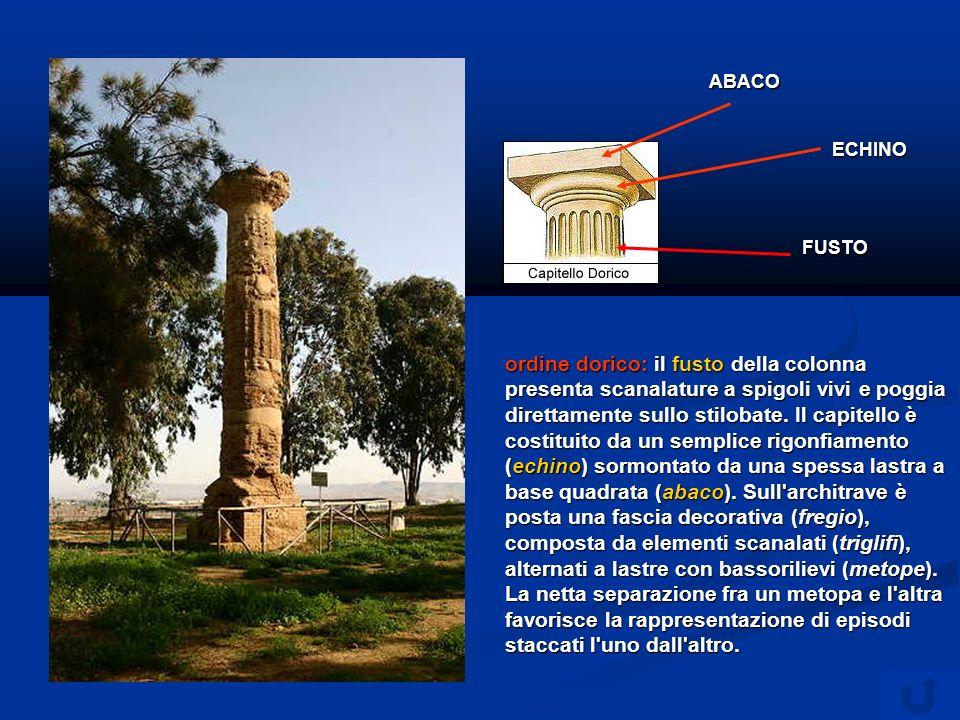 ordine dorico: il fusto della colonna presenta scanalature a spigoli vivi e poggia direttamente sullo stilobate.