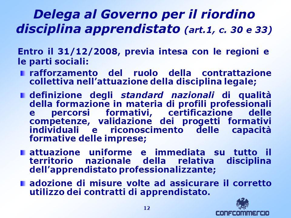 12 Delega al Governo per il riordino disciplina apprendistato (art.1, c. 30 e 33) rafforzamento del ruolo della contrattazione collettiva nellattuazio