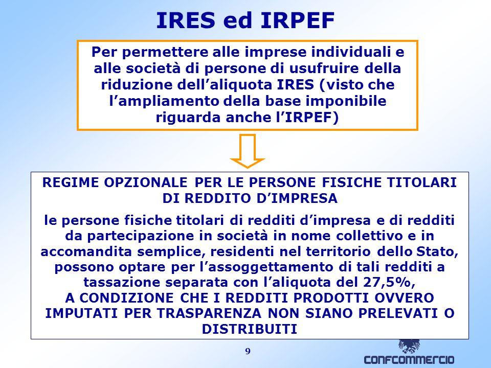 9 IRES ed IRPEF Per permettere alle imprese individuali e alle società di persone di usufruire della riduzione dellaliquota IRES (visto che lampliamen
