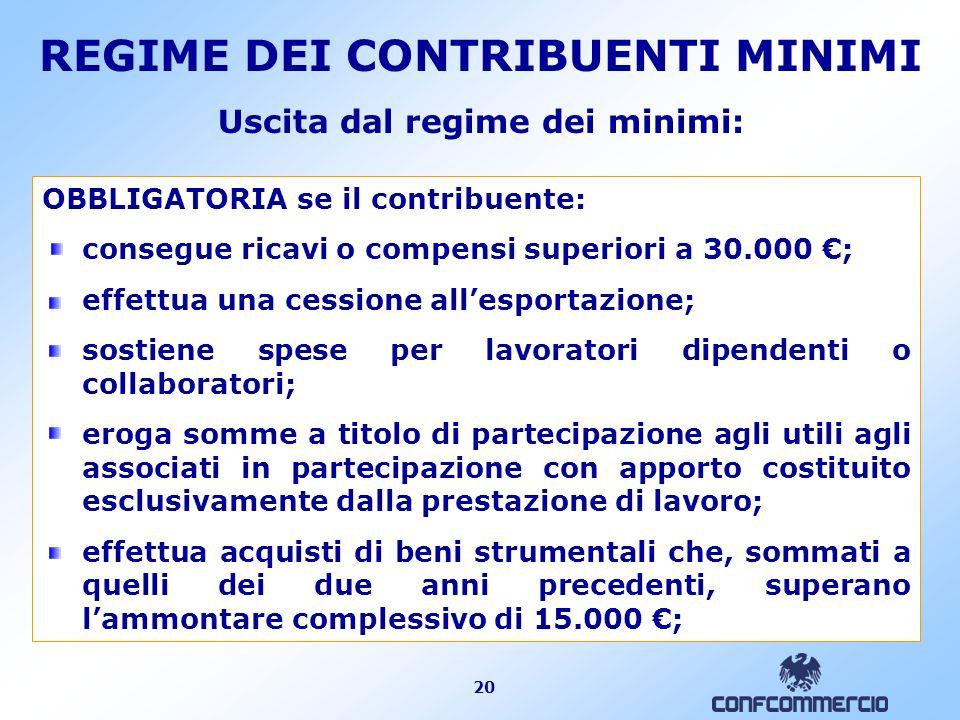 20 Uscita dal regime dei minimi: OBBLIGATORIA se il contribuente: consegue ricavi o compensi superiori a 30.000 ; effettua una cessione allesportazion