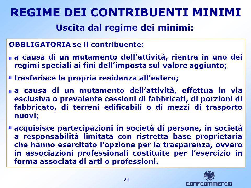 21 Uscita dal regime dei minimi: OBBLIGATORIA se il contribuente: a causa di un mutamento dellattività, rientra in uno dei regimi speciali ai fini del