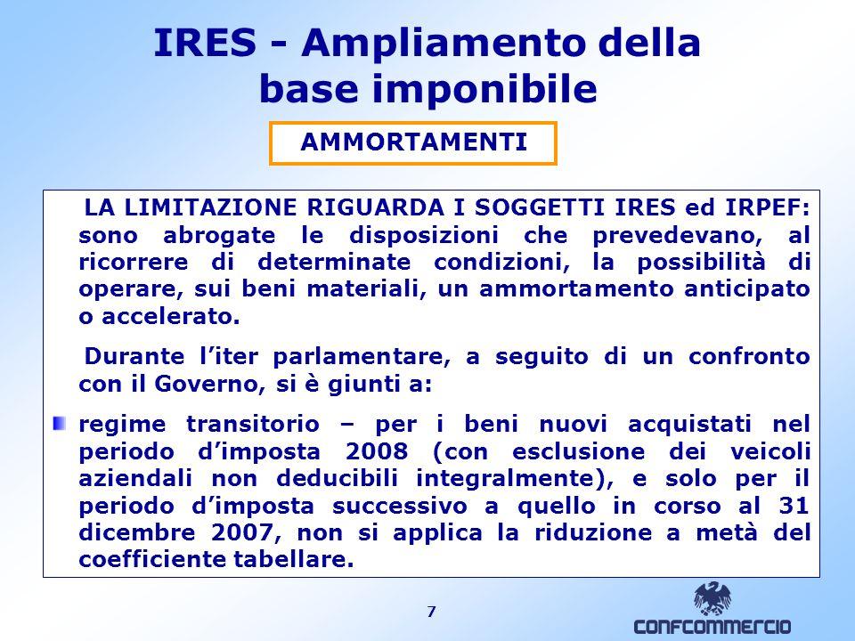 7 IRES - Ampliamento della base imponibile AMMORTAMENTI LA LIMITAZIONE RIGUARDA I SOGGETTI IRES ed IRPEF: sono abrogate le disposizioni che prevedevan