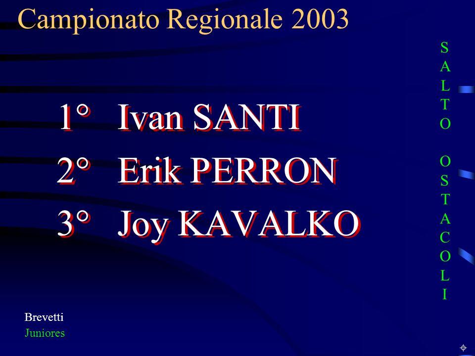 Campionato Regionale 2003 Brevetti Juniores 1° Ivan SANTI 2° Erik PERRON 3° Joy KAVALKO 1° Ivan SANTI 2° Erik PERRON 3° Joy KAVALKO SALTO OSTACOLISALTO OSTACOLI