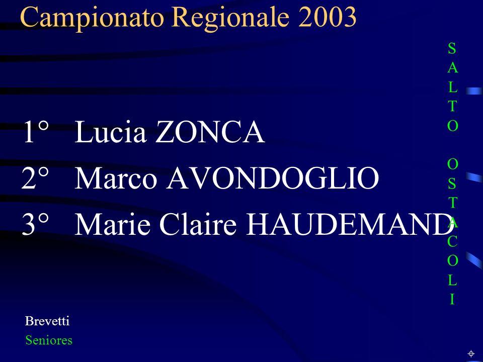 Campionato Regionale 2003 Brevetti Seniores 1° Lucia ZONCA 2° Marco AVONDOGLIO 3° Marie Claire HAUDEMAND SALTO OSTACOLISALTO OSTACOLI