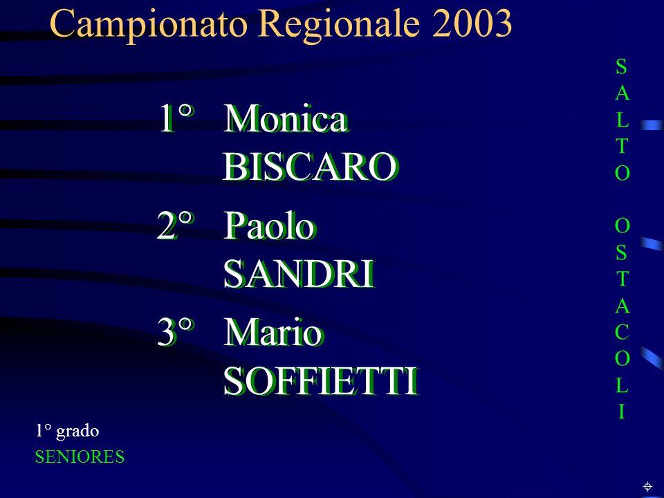 Campionato Regionale 2003 1° grado SENIORES 1° Monica BISCARO 2° Paolo SANDRI 3° Mario SOFFIETTI 1° Monica BISCARO 2° Paolo SANDRI 3° Mario SOFFIETTI SALTO OSTACOLISALTO OSTACOLI