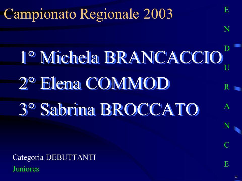 Campionato Regionale 2003 Categoria DEBUTTANTI Juniores 1° Michela BRANCACCIO 2° Elena COMMOD 3° Sabrina BROCCATO 1° Michela BRANCACCIO 2° Elena COMMO