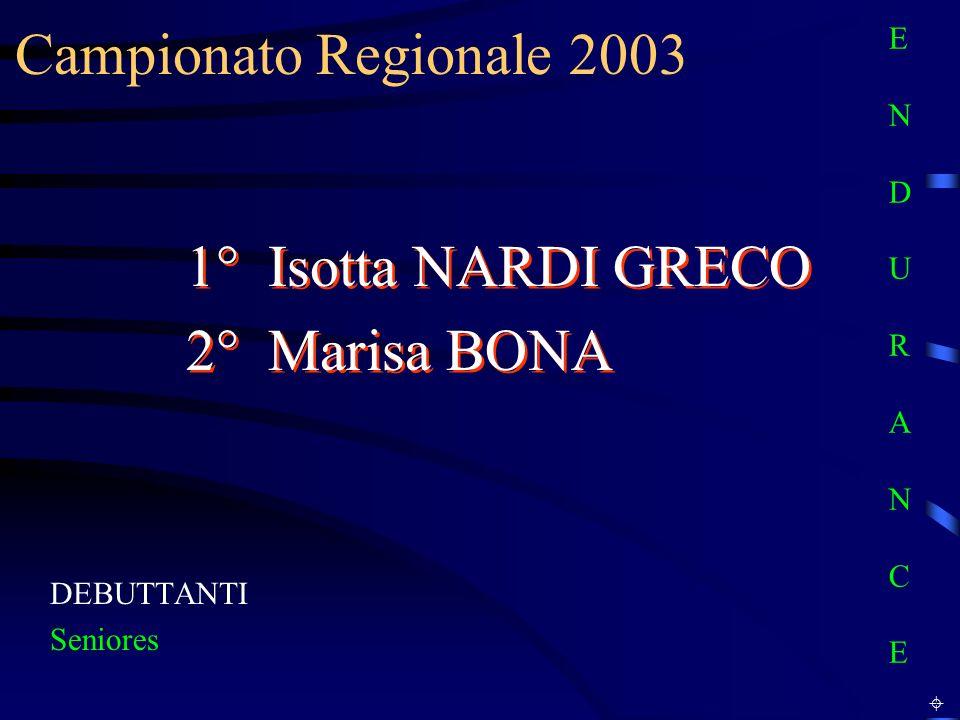 Campionato Regionale 2003 DEBUTTANTI Seniores 1° Isotta NARDI GRECO 2° Marisa BONA 1° Isotta NARDI GRECO 2° Marisa BONA E N D U R A N C EE N D U R A N