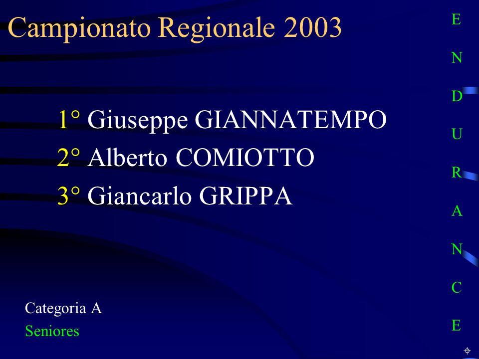 Campionato Regionale 2003 Categoria A Seniores 1° 1° Giuseppe GIANNATEMPO 2° 2° Alberto COMIOTTO 3° 3° Giancarlo GRIPPA E N D U R A N C EE N D U R A N C E