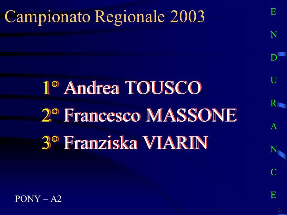 Campionato Regionale 2003 PONY – A2 1° 1° Andrea TOUSCO 2° 2° Francesco MASSONE 3° 3° Franziska VIARIN 1° 1° Andrea TOUSCO 2° 2° Francesco MASSONE 3°