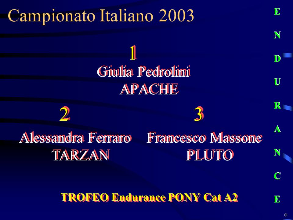 Campionato Italiano 2003 TROFEO Endurance PONY Cat A2 Giulia Pedrolini APACHE E N D U R A N C EE N D U R A N C E E N D U R A N C EE N D U R A N C E 11