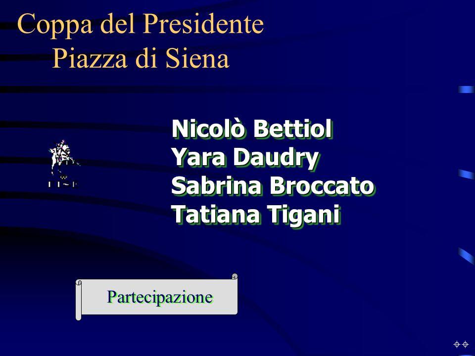 Coppa del Presidente Piazza di Siena Nicolò Bettiol Yara Daudry Sabrina Broccato Tatiana Tigani Nicolò Bettiol Yara Daudry Sabrina Broccato Tatiana Tigani Partecipazione